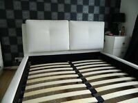White King Size Faux Leather Bed Frame