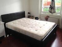 Contemporary real leather bed frame with mattress