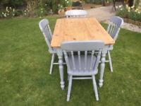 Pine TABLE & 4 matching CHAIRS