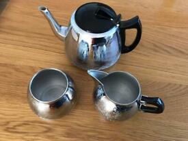 Vintage 1950s chrome swan brand made in England tea pot sugar bowl milk jug .