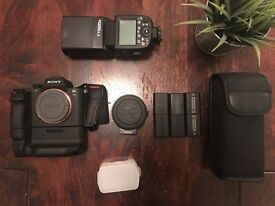 Sony A7Rii + Grip + Metabones (Canon) + Flash + 6 Batteries
