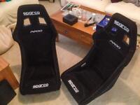 2 x Sparco F200 / Sprint Bucket Seats - Black - Like New
