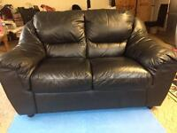 Land of leather 2 seater black leather sofa