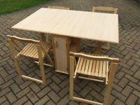Double folding gate-leg table and 4 folding chairs