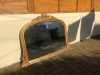 Antique vintage gold gallery mantlepiece mirror