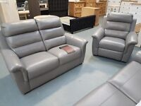 EX Display Grey Messina 3+2+1 Which Is Full Italian Madras Leather. RRP £3997 For The 3+2+1.