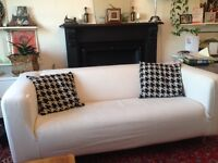 Cream IKEA 3 seater sofa mid century wooden legs dogtooth cushions included