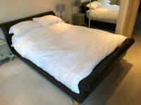 Double bed and memory foam mattress. Leather head and foot boards.