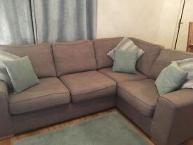 Left hand facing Grey corner sofa 4/5 seater and matching storage foot stool