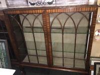 Lovely Vintage Lockable Astragal Glazed China Display Cabinet