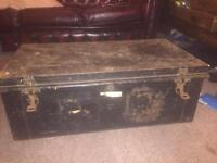 Old metal trunk hinges and clasps work £50