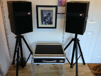Speakers, stands and amp and case
