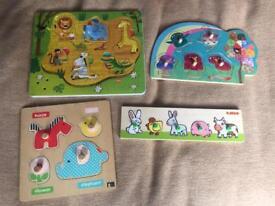 4x Preschool wooden jigsaws bundle