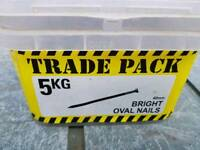 5kg tub of 40mm bright oval nails brand new