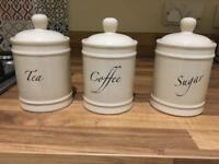 LOVELY CREAM SET TEA, COFFE & SUGAR CANISTERS