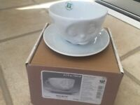 """Tassen coffee cup by fiftyeight products """"oh please"""" white porcelain with saucer"""