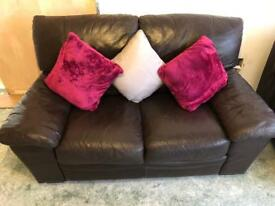 Two Dark Brown Leather 2-seater Sofas