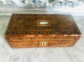 Antique Carved Wood Mother of Pearl Lockable Vintage Writing Storage Jewellery Box Ladies Trinket