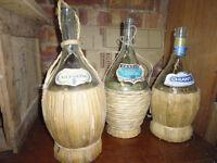 wicker chianti bottles