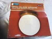 Opal glass sphere light oak effect collar £4 brand new