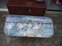 Vintage Wooden Coffee Table adorned with Ballet Picture
