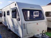 SUPERB 2012 Lunar Venus 500 4 Berth Fixed Single Beds End Washroom Caravan with Porch Awning