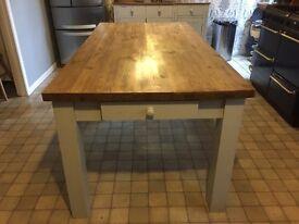 Antique sold pine farmhouse table