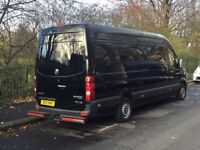 VW Crafter black - 9 seater - Splitter Tour Race Band Crew Van Motorhome