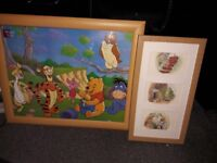Large Winnie the Pooh and 3 x Classic Pooh Disney framed prints for baby nursery excellent condition
