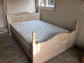 FRENCH GREY DISTRESSED DOUBLE BED & MATTRESS.