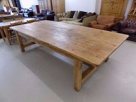 Large Stunning Rustic Chunky Solid Pine 10ft x 4.5ft Dining Table