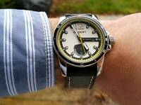 Debert white dial yellow hands Power Reserve Mechanical Automatic Date Watch