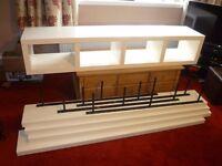 IKEA LACK Shelving Set - 1 Base Unit, 4 Floating Shelves, 4 Wall Brackets