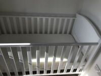 Pure white near new Cot and Matress - 2 Months old