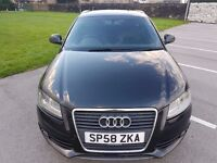 2009 Audi A3 2.0 TDI S Line Sportback 5dr FACELIFT FSH BLACK golf gt tdi fr bmw m sport diesel cheap