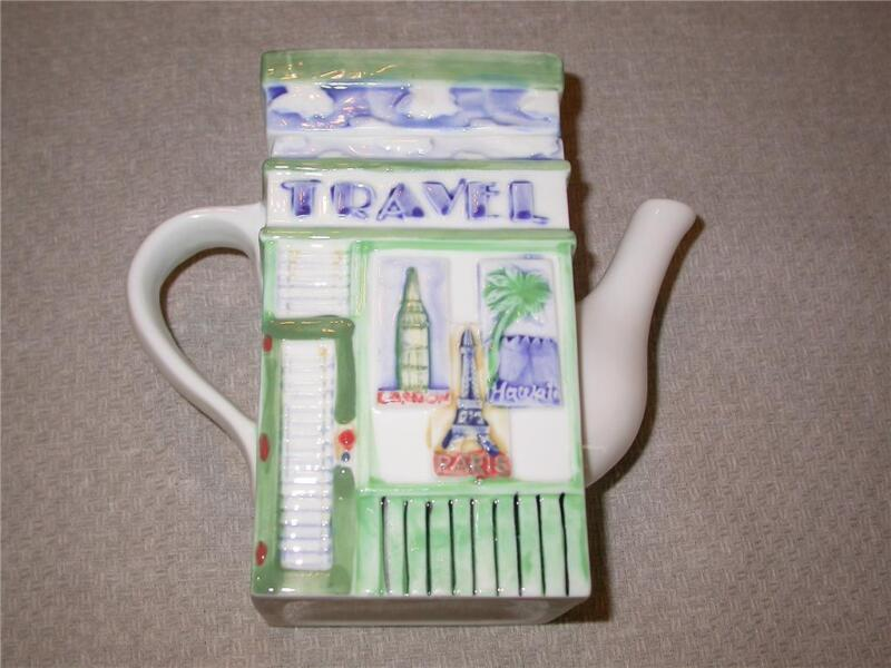 TEAPOT~CERAMIC~TRAVEL~LUGGAGE~RECTANGLE SHAPE~NEW~