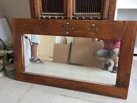 Mirror with sheesham wood frame