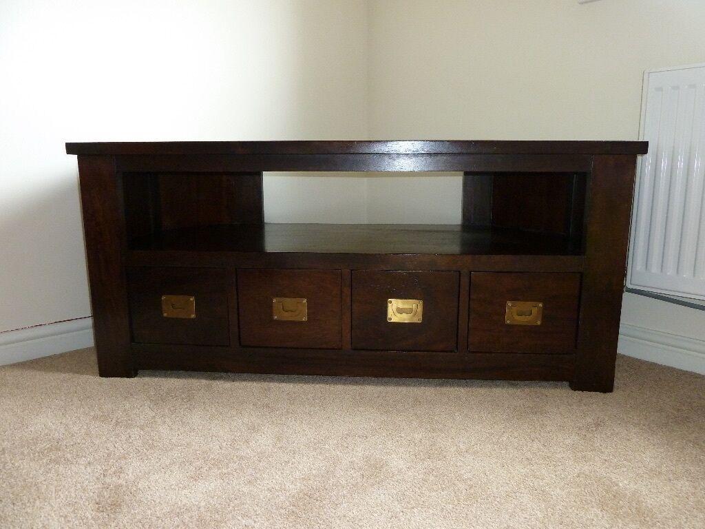 Dark Wood Corner TV Unit Cabinet With Shelf And Drawers