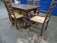 SOLID OAK REFECTORY TABLE WITH FOUR DINING CHAIRS AND TWO CARVER CHAIRS