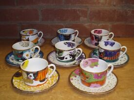 ROSINA WACHTMEISTER CATS, 8 CUPS & SAUCERS & 6 SIDE PLATES