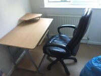 Computer table and black swivel chair table John Lewis