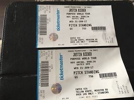 Two Justin Bieber tickets @ Dublin RDS 21 June. Standing area will sell for ticket price £88 each