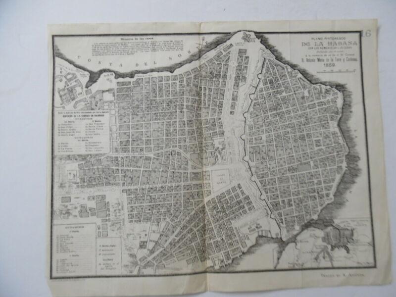 1859 Plano Pintoresco De La Habana Havana Cuba Map Jose M de la Torre Antique