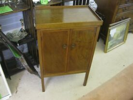 VINTAGE ORNATE SMALL WALNUT CABINET. TWIN DOORS, SHELF INSIDE. VERSATILE LOCATION USAGE. DELIVERY