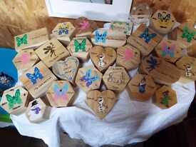 CAR BOOT LOT Hand decorated 26 wooden boxes
