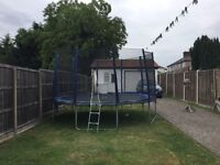 14foot trampoline with safety net and steps