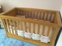 Mamas & Papas solid oak Ocean cot bed set