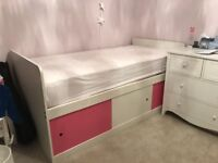 """Children's Cabin Bed 3'0"""" bed frame in white, excellent condition, hardly used."""