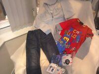 Boys clothes bundle age 5-6. Inc: Little white Company hoodie + Lego long sleeve + Jeans + pyjamas