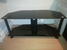 TV Stand Black Glass 2 Tier